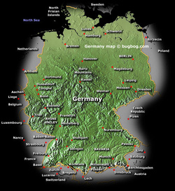 a geographical map of germany